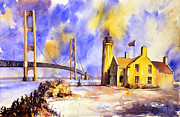 Watercolor Society Prints - Watercolor painting of ligthouse on Mackinaw Island- Michigan Print by Ryan Fox