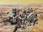 Desert War Art Painting Originals - We Have You Mate by Leonie Bell