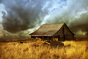 Oklahoma Landscapes Posters - Weathered Barn  Stormy Sky Poster by Ann Powell