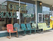 Small Towns Prints - Weathered Old Lawn Chairs Print by Donna Wilson