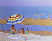 Beach Towel Painting Posters - Wellfleet Cape Cod Poster by Sarah Butterfield
