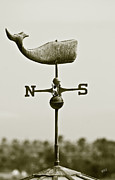 Whale Weathervane In Sepia Print by Ben and Raisa Gertsberg