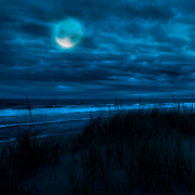 Sea Moon Full Moon Photo Prints - When the moon is blue square Print by Bill  Wakeley