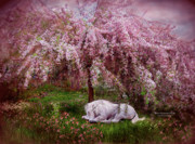 Tree Art Print Art - Where Unicorns Dream by Carol Cavalaris