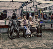 Pensioners Framed Prints - Which One Is the Statue Framed Print by Michael Braham