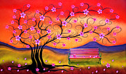 Nina Bradica Metal Prints - Whimsy Cherry Blossom Tree-1 Metal Print by Nina Bradica