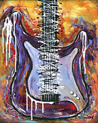 Electric Guitar Painting Originals - White Knight Guitar by Elena  Feliciano