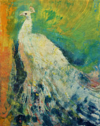 Abstract Wildlife Paintings - White Peacock by Michael Creese