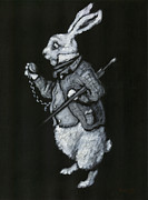 Alice In Wonderland Paintings - White Rabbit by Suzette Broad