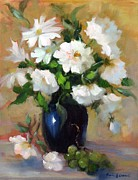White Grapes Paintings - White Rose Elegance by Karin  Leonard