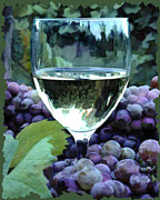 Wine Illustrations Digital Art Prints - White Wine Reflections Print by Elaine Plesser