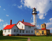 Whitefish Posters - Whitefish Point Lighthouse MI Poster by Nick Zelinsky