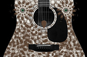 Hourglass Design Prints - Who Are You - Owl Abstract Guitar Print by Andee Photography