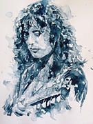 Rock  Paintings - Whole Lotta Love Jimmy Page by Paul Lovering