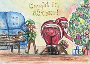 Christmas Eve Drawings Metal Prints - Whos Been Eating Your Cookies? Metal Print by Shana Rowe