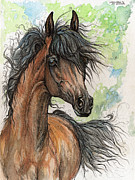 Drawing Painting Originals - Wieza Wiatrow polish arabian mare watercolor painting  by Angel  Tarantella