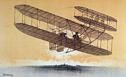 Flying Drawings Posters - Wilbur Wright in his Flyer Poster by Leon Pousthomis