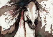 Arabian Horse Paintings - Wild Arabian Horse by Angel  Tarantella