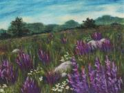 Rural Landscapes Pastels Prints - Wild Flower Field Print by Anastasiya Malakhova