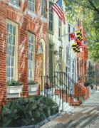 Row Homes Framed Prints - William Street Summer Framed Print by John Schuller