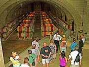 Winery Photography Digital Art Prints - Wine Barrels Underground at Mission HIll Family Estate Winery in Kelowna-BC Print by Ruth Hager