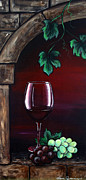 Painted Grapes Prints - Wine for One Print by Danise Abbott