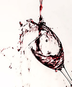 Red Wine Pouring Into Wineglass Prints - Wine Pour Splash in Color 2 Print by JC Kirk
