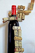 Red Wine Bottle Mixed Media Prints - Wine robot captures a bottle of wine Print by Relihan Art