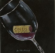 Wine Glass Art Paintings - Wine with Dinner II by Sheryl Heatherly Hawkins