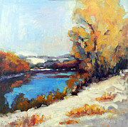 Mountain Biking Paintings - Winter Along River Drive by Kit Dalton