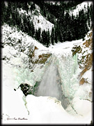Yellowstone National Park Posters - Winter Falls on the Yellowstone - 2 Poster by Kae Cheatham