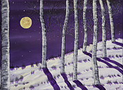 Snowy Night Posters - Winter Full Moon and Birch Trees  Painting Poster by Keith Webber Jr