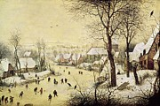 Skating Framed Prints - Winter Landscape with Skaters and a Bird Trap Framed Print by Pieter Bruegel the Elder