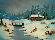 Serenity Scenes Landscapes Paintings - Winter  Retreat by Shasta Eone