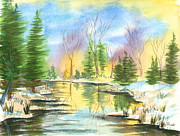 Snowy Stream Paintings - Winter Stillness by Walt Brodis