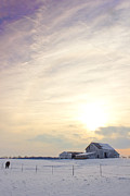 Indiana Photography Prints - Winter Sunset with Barn Print by Michael Huddleston