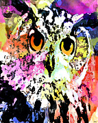 Catherine Mixed Media Prints - Wise And Colorful Owl Print by Catherine Harms