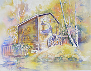 Grist Mill Paintings - Wolf Creek Grist Mill by Mary Haley-Rocks