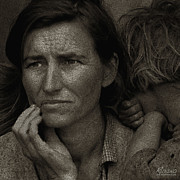 Sepia Chalk Drawings Prints - Woman and Child Drawing From Dorothea Lange Photo  Print by Tony Rubino