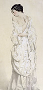 French School; (19th Century) Metal Prints - Woman in a Dressing Gown Metal Print by French School