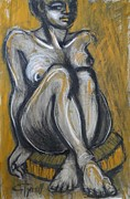 Chair Drawings Framed Prints - Woman Sitting On Round Chair 2- Female Nude  Framed Print by Carmen Tyrrell