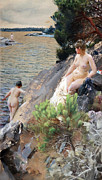 Swedish Posters - Women at the lake 1887 Poster by Anders Zorn