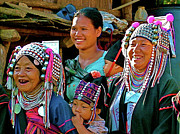 Headdresses Art - Women of Akha tribe in Mae Chan Thailand  by Ruth Hager