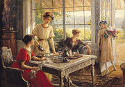 Kitchen Window Paintings - Women Taking Tea by Albert Lynch
