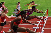 Track And Field Prints - Womens Hurdles 3 Print by Bob Christopher