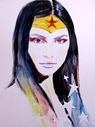 Geek Painting Posters - Wonder Woman Poster by Lauren Anne