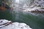River Scenes Photo Prints - Wooden Bridge Snow Print by Darren  White