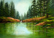 Serenity Scenes Landscapes Paintings - Woodland  Reflection by Shasta Eone