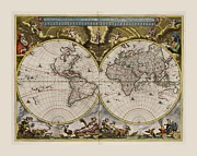 Map Of The World Mixed Media - World Map 1664 AD with small matching border by L Brown