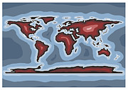 World Map Print Digital Art - World Map Red by Stephen Gowland